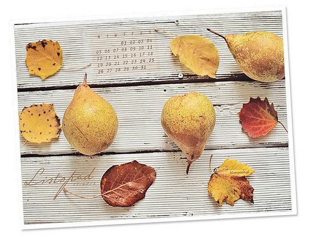 tapeta na pulpit z kalendarzem na listopad 2012